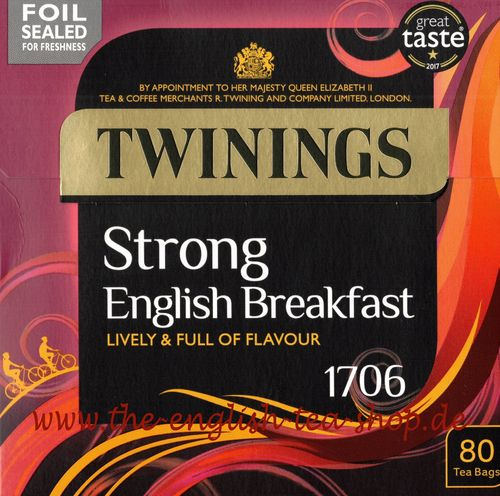 Twinings 1706 English Strong Breakfast 80 Tea Bags (250g)
