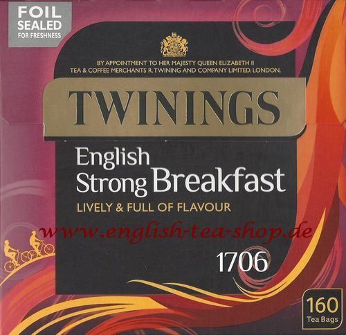 Twinings 1706 English Strong Breakfast 160 Tea Bags (500g) - Special Offer