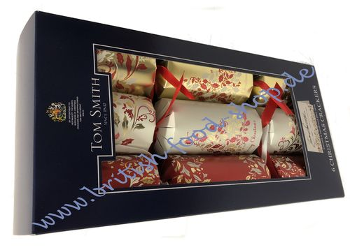 Tom Smith 6 Christmas Crackers - Red, Cream & Gold